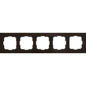 Рамка для розеток и выключателей Werkel Favorit 5 постов, стекло, цвет коричневый