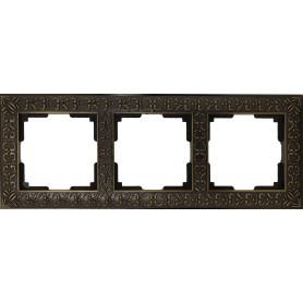 Рамка для розеток и выключателей Werkel Antik 3 поста, цвет бронза
