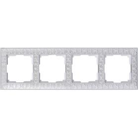 Рамка для розеток и выключателей Werkel Antik 4 поста, цвет жемчужный