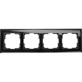 Рамка для розеток и выключателей Werkel Diamant 4 поста, цвет чёрный