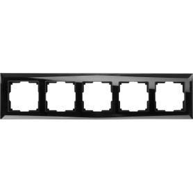 Рамка для розеток и выключателей Werkel Diamant 5 постов, цвет чёрный