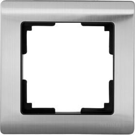 Рамка для розеток и выключателей Werkel Metallic 1 пост, металл, цвет глянцевый никель