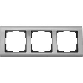 Рамка для розеток и выключателей Werkel Metallic 3 поста, металл, цвет глянцевый никель