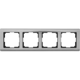 Рамка для розеток и выключателей Werkel Metallic 4 поста, металл, цвет глянцевый никель