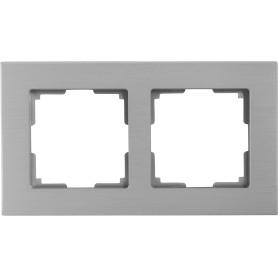 Рамка для розеток и выключателей Werkel Aluminium 2 поста, металл, цвет алюминий