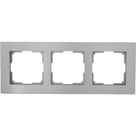 Рамка для розеток и выключателей Werkel Aluminium 3 поста, металл, цвет алюминий