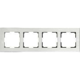 Рамка для розеток и выключателей Werkel Aluminium 4 поста, металл, цвет алюминий