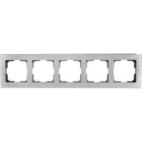 Рамка для розеток и выключателей Werkel Aluminium 5 постов, металл, цвет алюминий