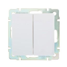Выключатель встраиваемый Werkel 2 клавиши, цвет белый
