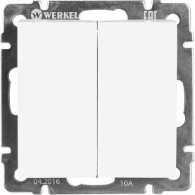 Выключатель проходной встраиваемый Werkel 2 клавиши, цвет белый