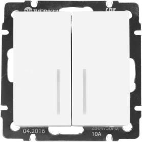 Выключатель проходной встраиваемый Werkel 2 клавиши с подсветкой, цвет белый