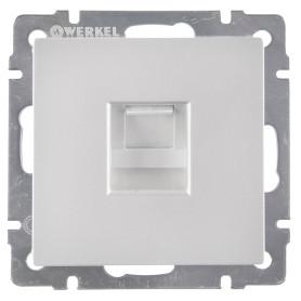 Телефонная розетка встраиваемая Werkel RJ11, цвет серебряный
