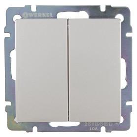 Выключатель встраиваемый Werkel 2 клавиши, цвет серебряный