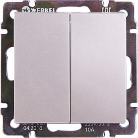 Выключатель проходной встраиваемый Werkel 2 клавиши, цвет серебряный