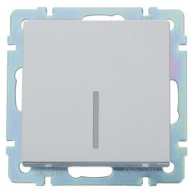 Выключатель встраиваемый Werkel 1 клавиша с подсветкой, цвет серебряный