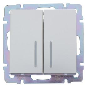 Выключатель встраиваемый Werkel 2 клавиши с подсветкой, цвет серебряный