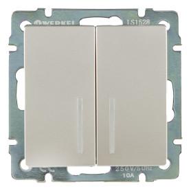 Выключатель проходной встраиваемый Werkel 2 клавиши с подсветкой, цвет серебро