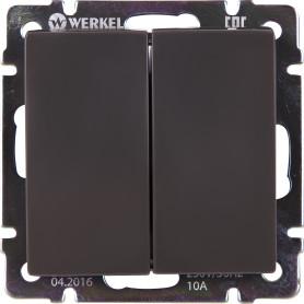 Выключатель проходной встраиваемый Werkel 2 клавиши, цвет серо-коричневый