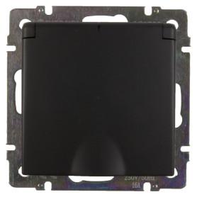 Розетка встраиваемая влагозащищённая Werkel с заземлением, с крышкой и шторками, IP44, цвет черный
