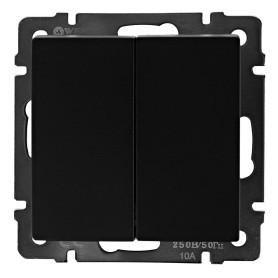 Выключатель проходной встраиваемый Werkel 2 клавиши, цвет черный