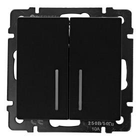 Выключатель встраиваемый Werkel 2 клавиши с подсветкой, цвет черный