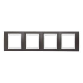 Рамка для розеток и выключателей Schneider Electric Unica 4 поста, цвет какао/белый