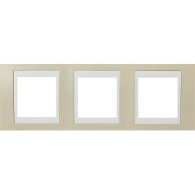 Рамка для розеток и выключателей Schneider Electric Unica 3 поста, цвет песчаный/белый