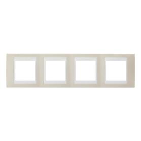 Рамка для розеток и выключателей Schneider Electric Unica 4 поста, цвет песчаный/белый
