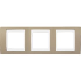 Рамка для розеток и выключателей Schneider Electric Unica 3 поста, цвет коричневый/белый