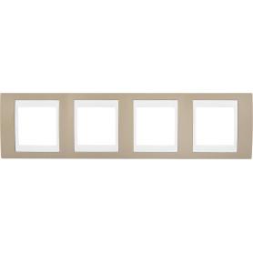 Рамка для розеток и выключателей Schneider Electric Unica 4 поста, цвет коричневый/белый