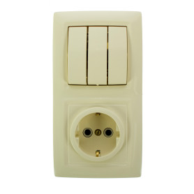 Блок выключатель с розеткой встраиваемый Reone 3 клавиши, с заземлением, цвет слоновая кость