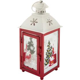 Украшение декоративное «Фонарик красный» 22 см, стекло/дерево