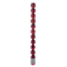 Набор ёлочных шаров, 5 см, 12 шт, в тубе, цвет красный