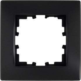 Рамка для розеток и выключателей Lexman Виктория сферическая, 1 пост, цвет чёрный бархат матовый