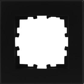 Рамка для розеток и выключателей Lexman Виктория плоская, 1 пост, цвет чёрный бархат матовый
