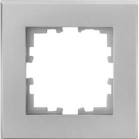 Рамка для розеток и выключателей Lexman Виктория плоская, 1 пост, цвет серебристый матовый