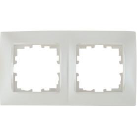 Рамка для розеток и выключателей Lexman Виктория сферическая, 2 поста, цвет жемчужно-белый матовый