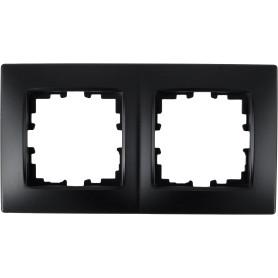 Рамка для розеток и выключателей Lexman Виктория сферическая, 2 поста, цвет чёрный бархат матовый