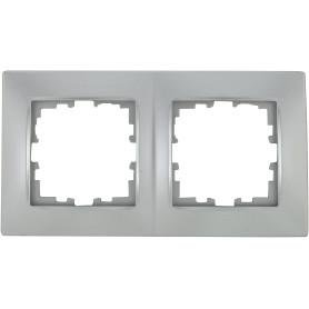 Рамка для розеток и выключателей Lexman Виктория сферическая, 2 поста, цвет матовое серебро