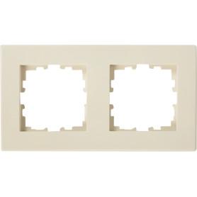 Рамка для розеток и выключателей Lexman Виктория плоская, 2 поста, цвет бежевый