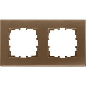Рамка для розеток и выключателей Lexman Виктория плоская, 2 поста, цвет бронза