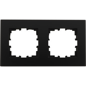 Рамка для розеток и выключателей Lexman Виктория плоская, 2 поста, цвет чёрный