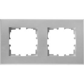Рамка для розеток и выключателей Lexman Виктория плоская, 2 поста, цвет серебро
