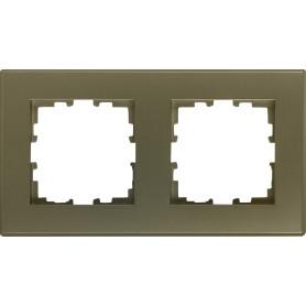 Рамка для розеток и выключателей Lexman Виктория плоская, 2 поста, цвет шампань