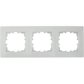 Рамка для розеток и выключателей Lexman Виктория сферическая, 3 поста, цвет белый