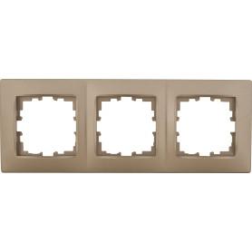Рамка для розеток и выключателей Lexman Виктория сферическая, 3 поста, цвет бронза