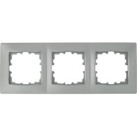 Рамка для розеток и выключателей Lexman Виктория сферическая, 3 поста, цвет матовое серебро