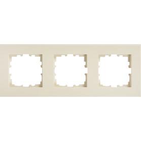 Рамка для розеток и выключателей Lexman Виктория плоская, 3 поста, цвет бежевый