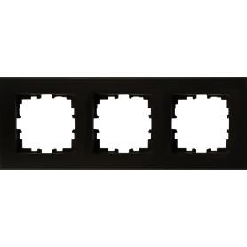 Рамка для розеток и выключателей Lexman Виктория плоская, 3 поста, цвет чёрный