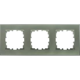 Рамка для розеток и выключателей Lexman Виктория плоская, 3 поста, цвет серый